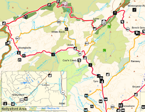 Map of the Nelson Scenic loop